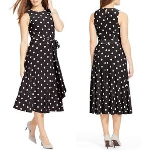 Ralph Lauren Polka Dot Midi Jersey Dress